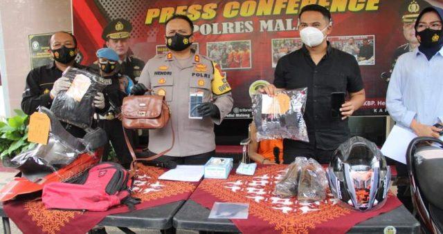 PRESS RELEASE: Kapolres Malang AKBP Hendri saat press release kasus begal dan pemerkosaan wanita pencari kerja.