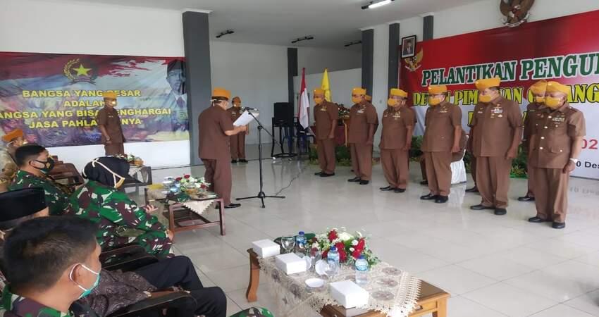 PELANTIKAN: Kegiatan pelantikan pengurus Dewan Pimpinan Cabang (DPC) LVRI Kota Batu yang ikut para veteran TNI Polri.