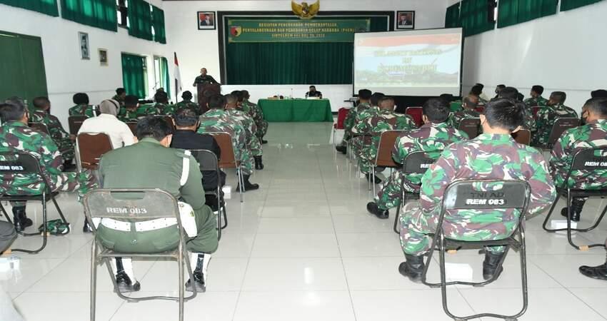 SOSIALISASI:Korem 083/Bdj saat menggelar sosialisasi bahaya narkoba dan tes urine kepada prajurit Korem 083/Bdj dan ASN.